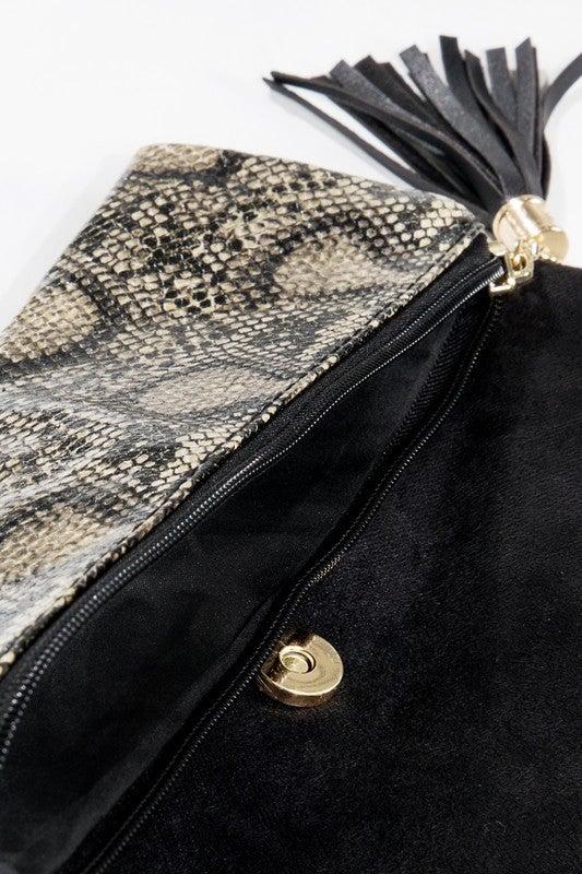 Slither on By Snake Skin and Black Velvet Crossbody Bag