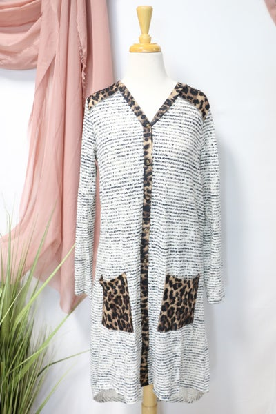 Time Of My Life Leopard & Striped Dress/Cardigan With Pockets- Sizes 4-20