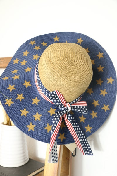 Patriotic Dreams Straw Adjustable Hat With Star Brim And Flag Band