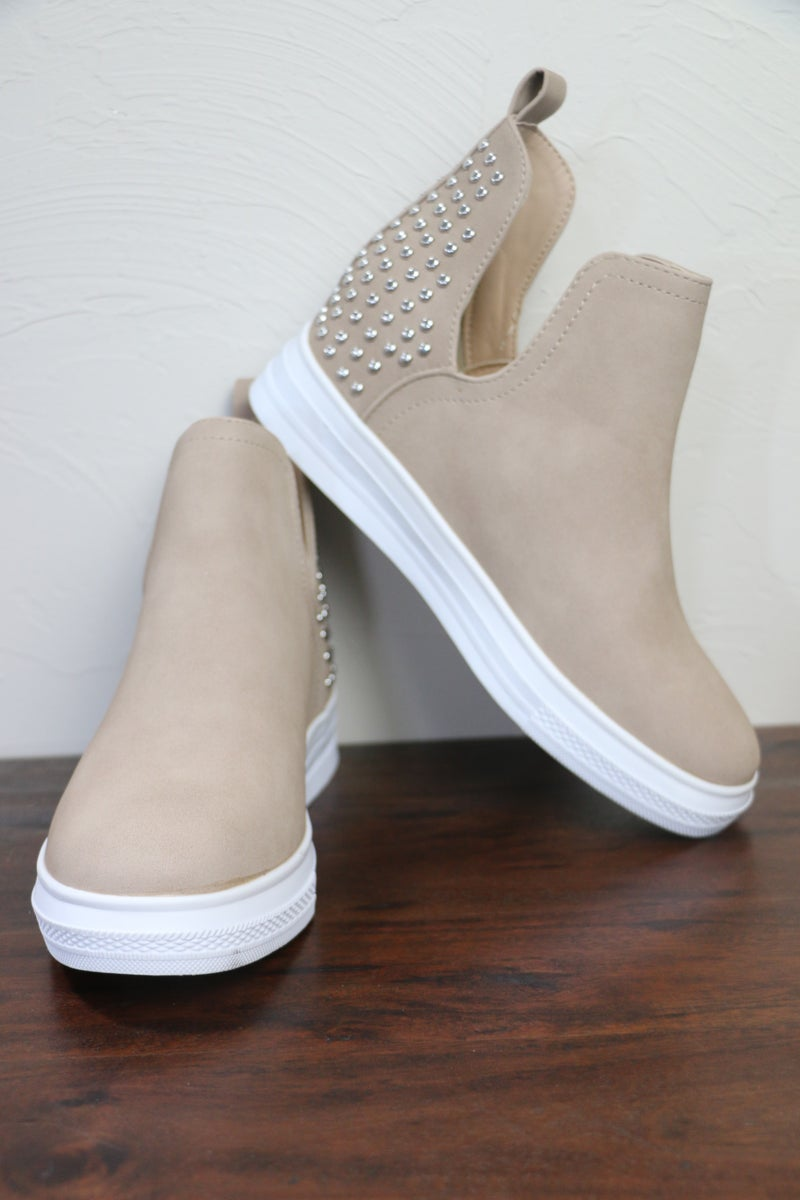 Slip on By Beige Sneaker Wedge with Accent Studded Back Detail - Sizes 5.5 - 10