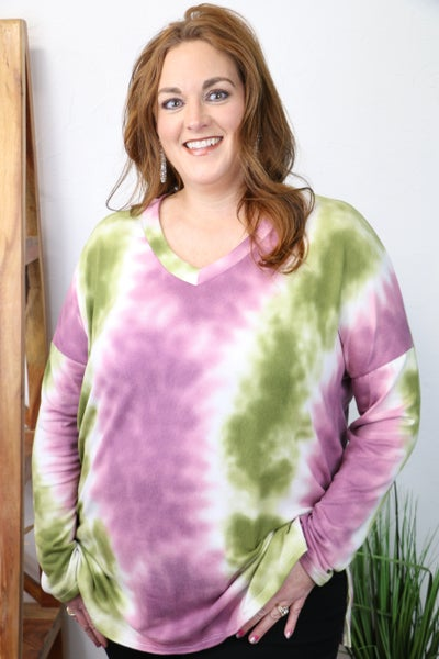 Jumping for Joy Olive and Plum Tie Dye Top - Sizes 4-20