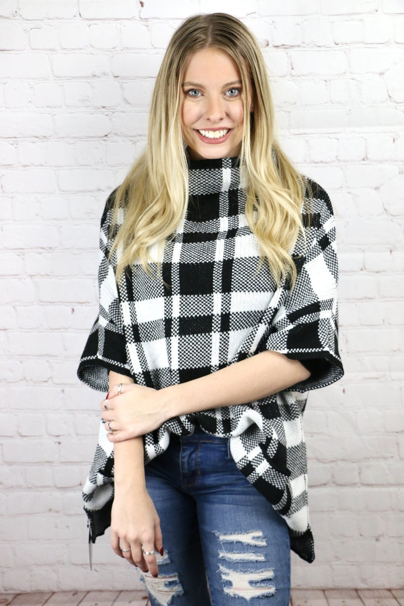 Take You Out Buffalo Plaid Poncho with Pockets in Multiple Colors - One Size Fits Most