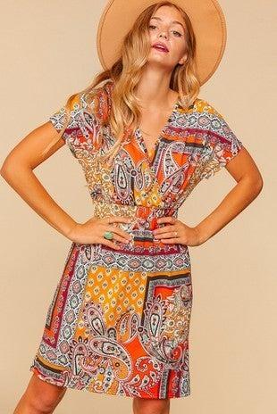 Always with You Orange Bohemian Surplice Dress - Sizes 4-20