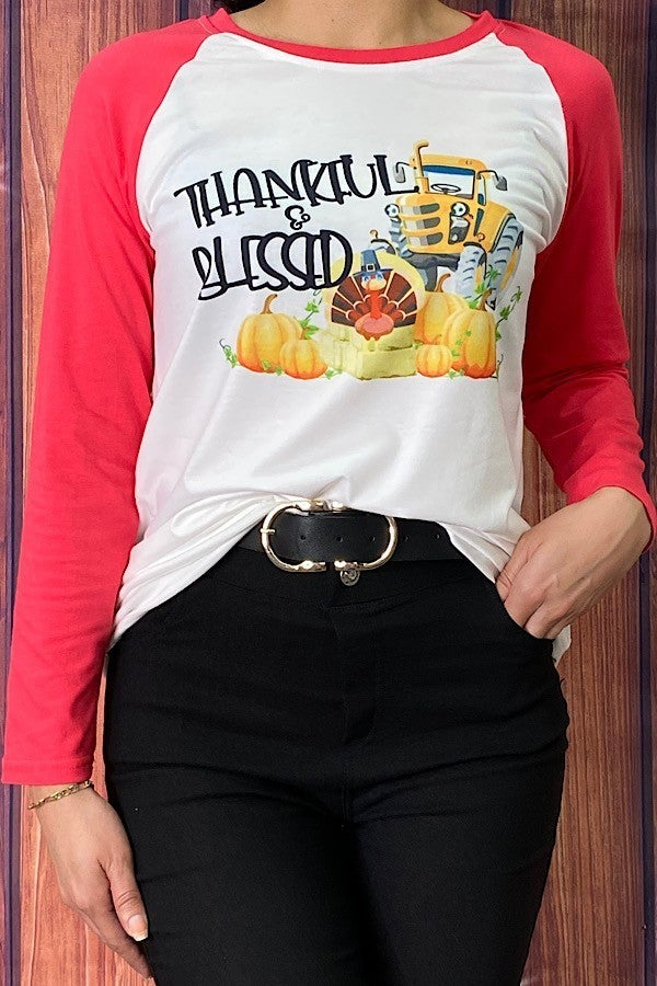 Thankful and Blessed Tractor Raglan ***PREORDER***- Sizes 4-20