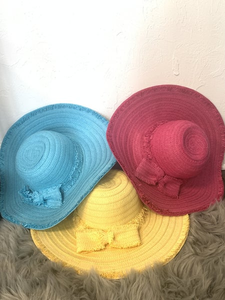 Derby Time Straw Wide Brim Hat And Matching Bow With Fringe Detail In Multiple Colors