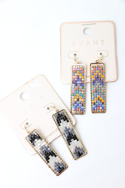 All The Time Flat Beaded Pendant Earring In Multiple Colors