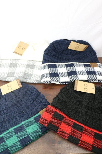 CC Beanie With Plaid Accents In Multiple Colors