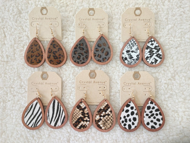 Perfection Teardrop Earring With Wooden Border And Animal Print In Multiple Prints
