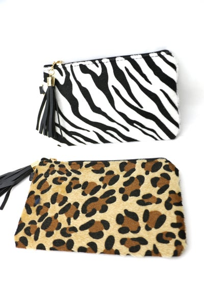 Pouch Bag With Wristlet In Multiple Animal Prints