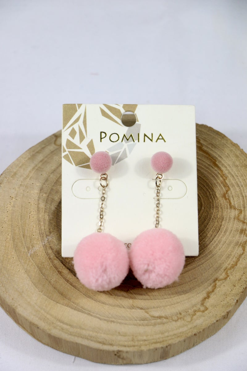Bring It On Double Pom Pom Earring With Gold Chain In Multiple Colors
