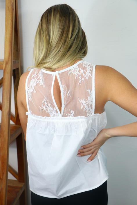 Cherish the Day White Sleeveless Top with Lace Accents - Sizes 2-10