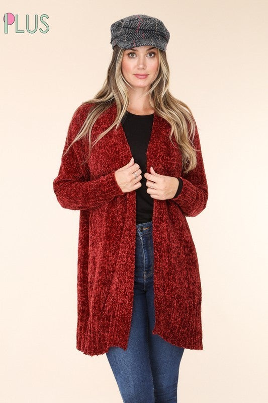 Counting Down the Minutes Chenille Cardigan with Front Pocket in Multiple Colors - Sizes 12-20
