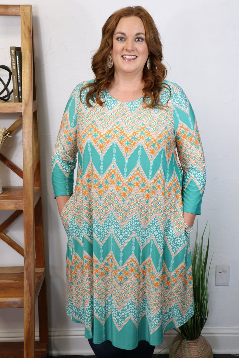 All the Right Words Mint and Orange Patterned Chevron Three Quarter Sleeve Dress - Sizes 12-20