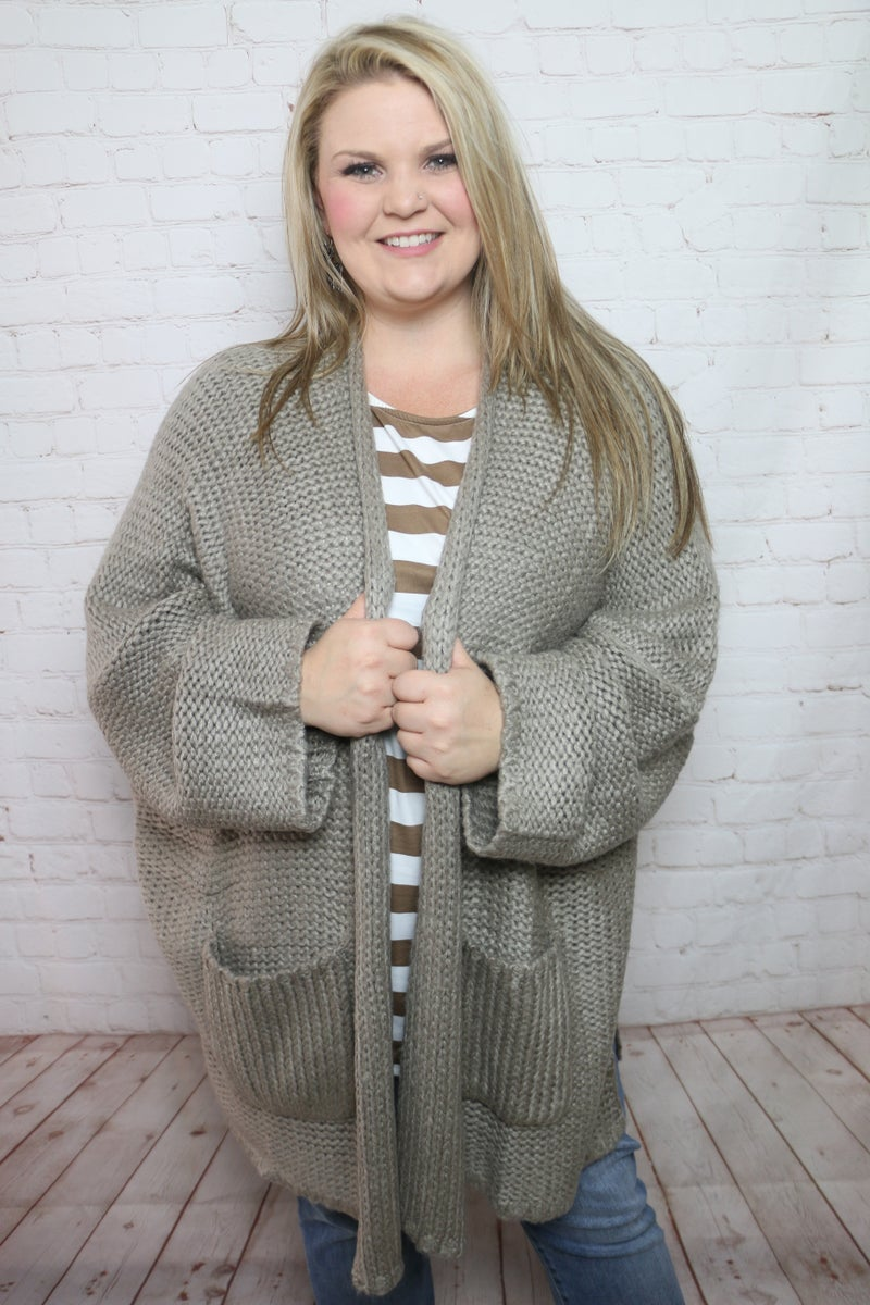Come on Over Chunky Knit Oversized Cardigan in Multiple Colors- One Size Curvy