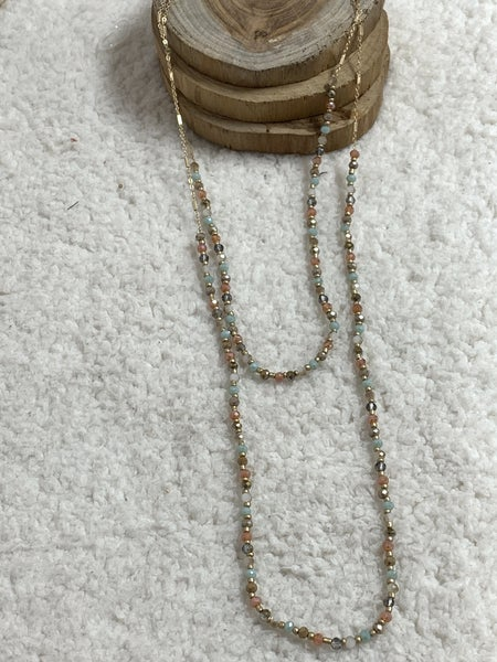 Well Hello Double Strand Light Multi Crystal Bead Necklace In Gold