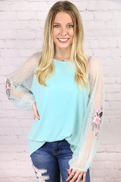 Simply Beautiful Mint Top with Floral Embroidery Lace Sleeve - Sizes 4-18