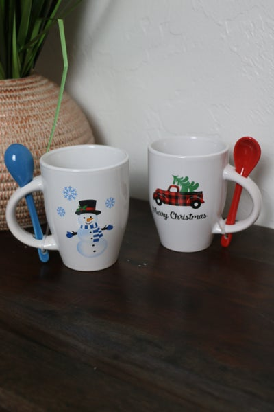 So Cute Christmas Mugs with Attached Spoon in Multiple Prints