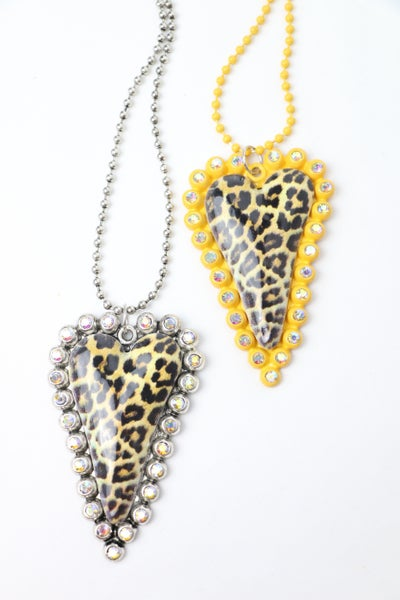 Bless Your Heart Long Necklace With Leopard Bling Heart Pendant In Multiple Colors