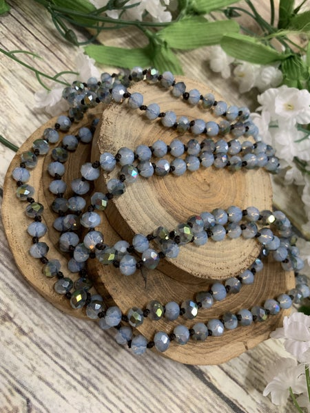 Glacier Blue Point Of Perfection Beaded Necklace