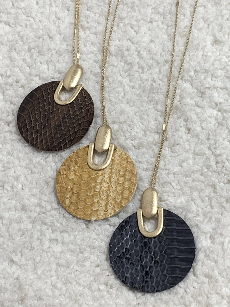 Now Or Never Long Gold Necklace With Circle Snakeskin Pendant In Multiple Colors