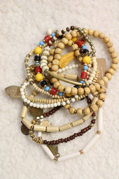 Never Alone 10 Strand Beaded Bracelet With Charms and Tassels
