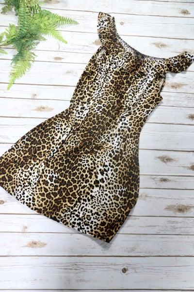 L&B Leopard Print Tank Dress With Ruffle Neckline In XL