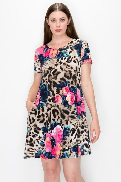 In The Lights Leopard & Floral Print Dress With Pockets- Sizes 4-20
