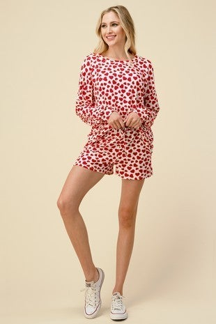 All of My Love Red Heart Long Sleeve and Short Pajama Set - Sizes 4-20