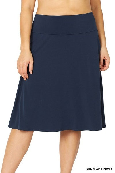 Your Sweet Heart Skirt with Fold Over Waist Band in Multiple Colors - Sizes 12-20