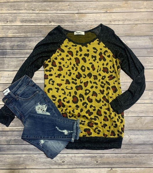 This Is Interesting Leopard Contrast Top In Mustard - Sizes 4-10
