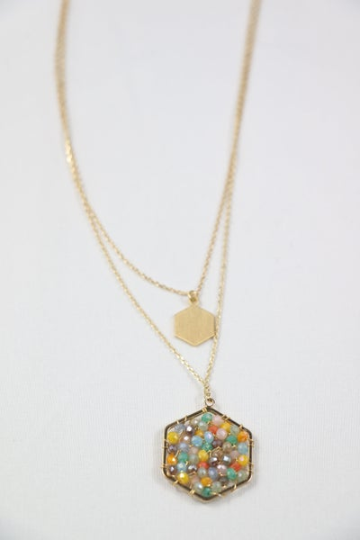 Here And Now Double Gold Strand Necklace With Light Multi Hexagon Pendant