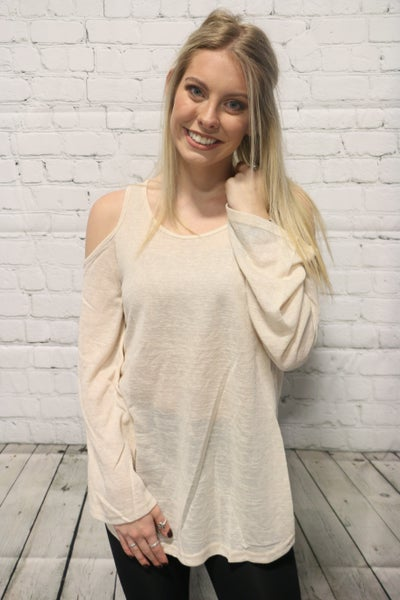 Who I Want To Be Tan Cold Shoulder Long Sleeve- Sizes 4-10