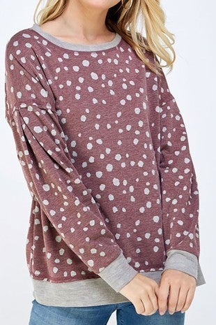 You're Welcome to Come Wine and Gray Polka Dot Long Sleeve Top - Sizes 4-10