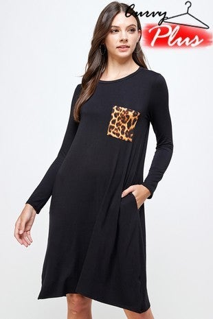 Stroll Through the Jungle Black Long Sleeve Dress with Leopard Accent Pocket - Sizes 12-20