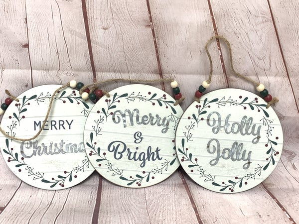Wood Round Holiday Sign With Beaded Hanger In Multiple Sayings