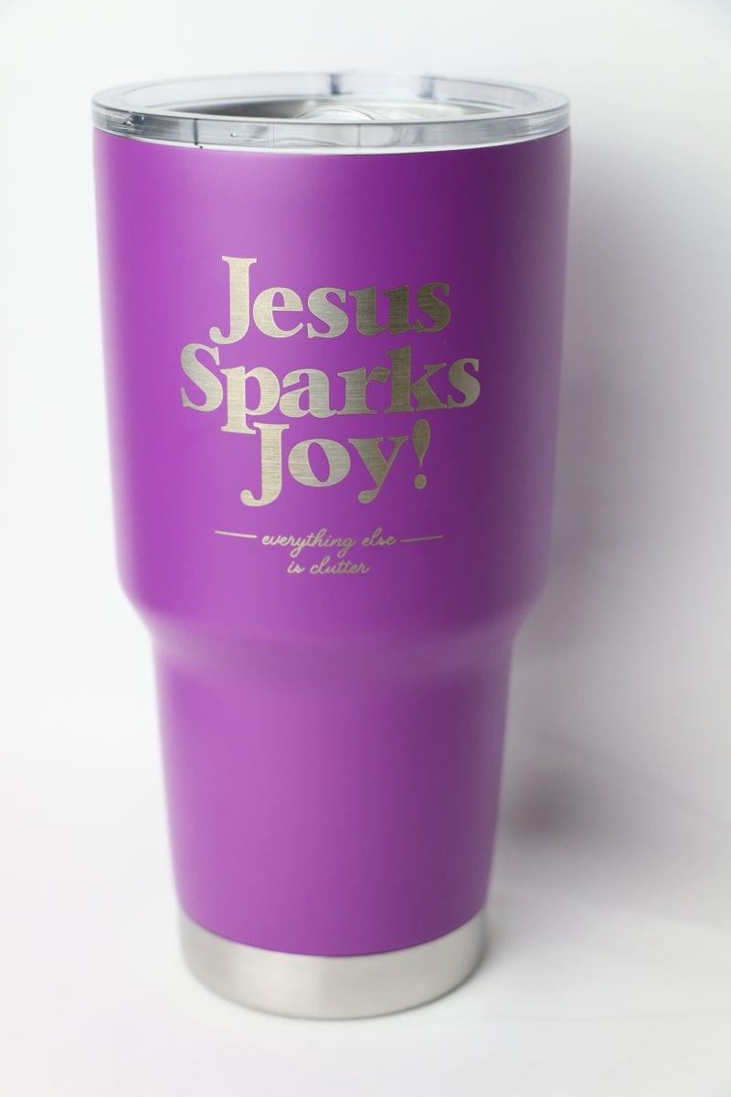 Jesus Sparks Joy Purple Tumbler
