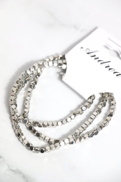 Here's The Thing 3 Strand Silver Cube Beaded Stretch Bracelet