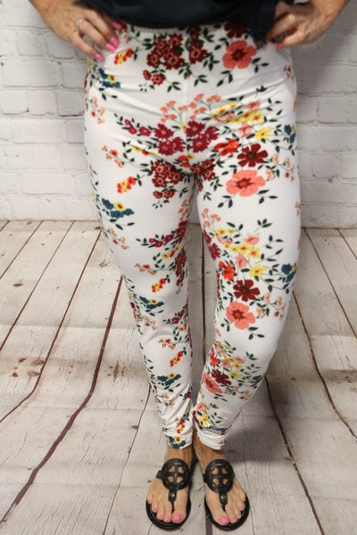 Feeling Floral Ivory Leggings With Floral Pattern- Sizes 4-20
