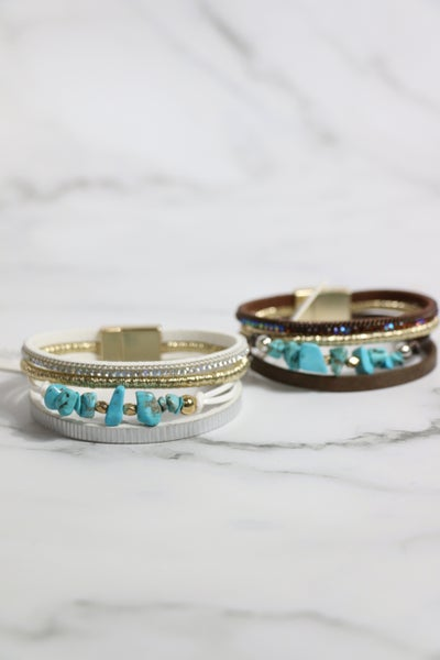 Rodeo Time 4 Strand Turquoise Bead Magnetic Clasp Bracelet In Multiple Colors