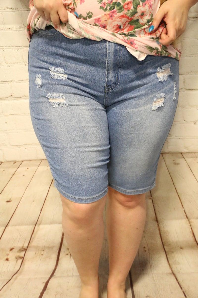 Best Time Light Denim Distressed Bermuda Shorts- Sizes 12-20