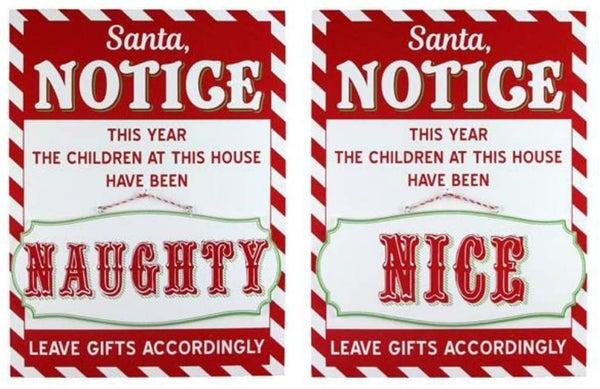 Santa Notice For Naughty or Nice Wall Decor