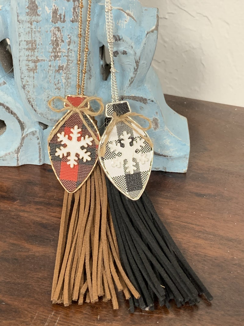 Tinsel Time Long Necklace With Buffalo Plaid Ornament Charm And Tassel In Multiple Colors