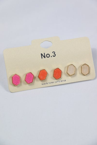 Brilliant Set Of 3 Druzy Octagon Stud Earrings