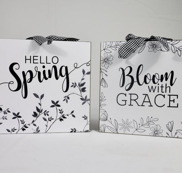 Garden Block Sign With Gingham Bow And Trim In Multiple Sayings