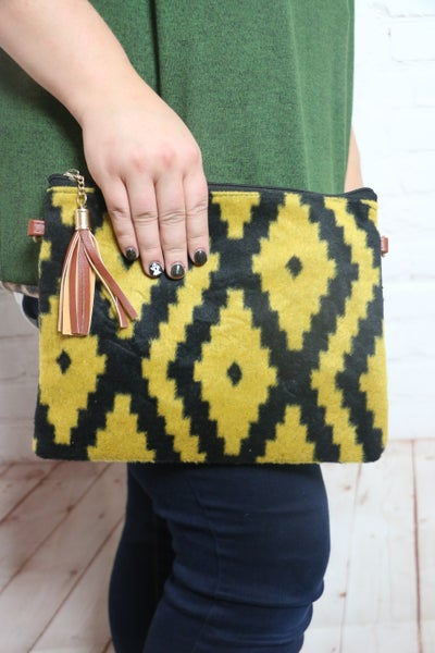 Southwest Vibes Felt Aztec Design Crossbody Bag With Tassel In Multiple Colors