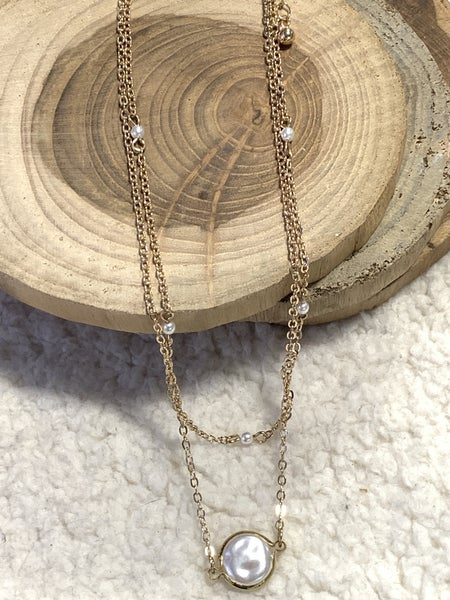 Time On My Hands Double Strand Gold Necklace  With Freshwater Pearl Pendant