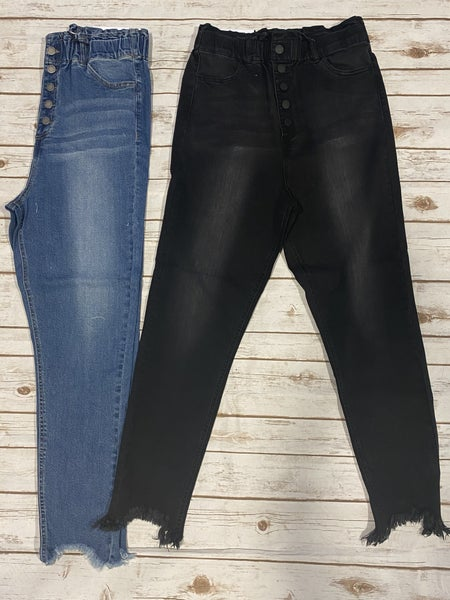 The Sadie Paperbag Buttondown High Rise Skinny Jean with Frayed Sharkbite Cuff in Multiple Colors - Sizes 12-20
