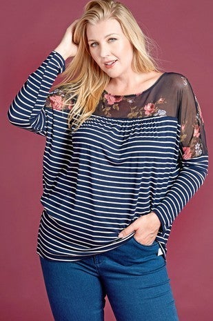 Change My Mind Navy Striped Top with Floral Mesh Accent - Sizes 12-20