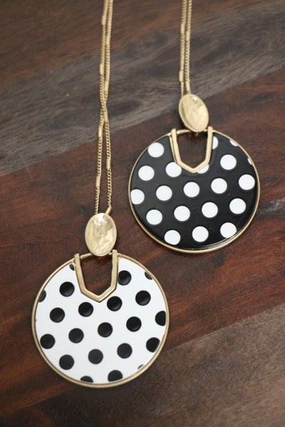 I Spotted You! Black And White Polka Dot Cut-Out Disc Necklace In Multiple Colors