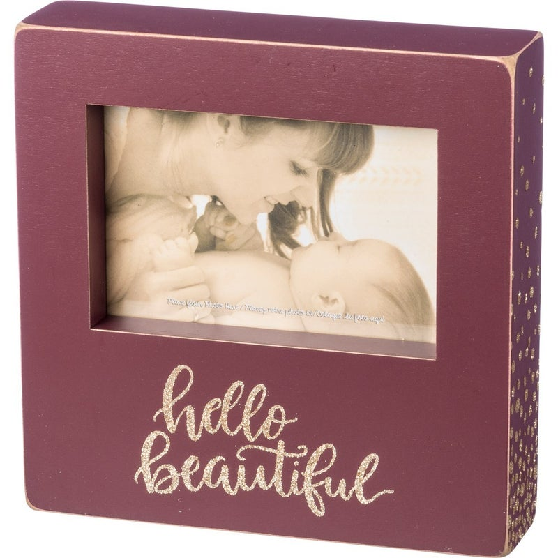 Hello Beautiful Wood Box Photo Frame